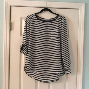 Loft Striped Blouse with Utility Sleeves